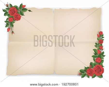 Old paper sheet and red roses in corners. Template for design greeting card.