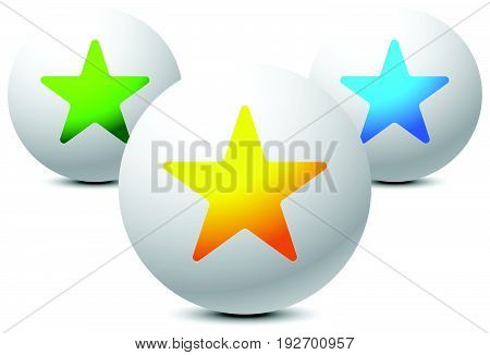 Composition Of Circles With Star Shapes. Star Reward Icon.
