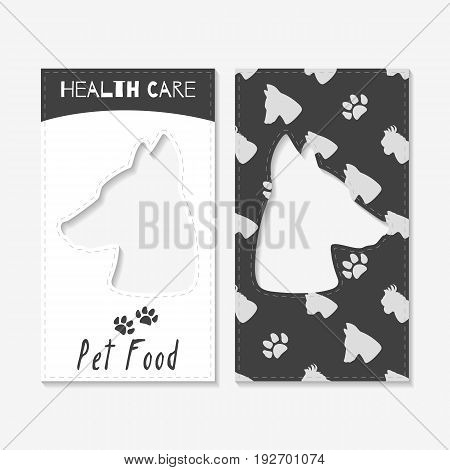 Set of business cards with hand drawn silhouettes. Pet food hop brand identity. Vector illustration