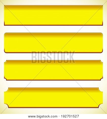 Set Of Metal Plaque, Banner Shapes. Precious Metal Bars With Corner Effect. Rectangle Buttons