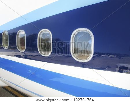 close up commercial airplane windows