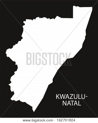 Kwazulu-natal South Africa Map Black Inverted Silhouette Illustration