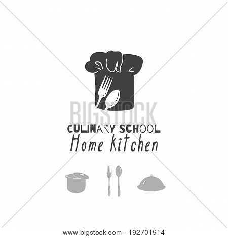 Set of hand drawn silhouettes: chef hat, stock pot, cloche, spoon and fork. Restaurant logo template for craft food packaging, menu or brand identity. Vector illustration