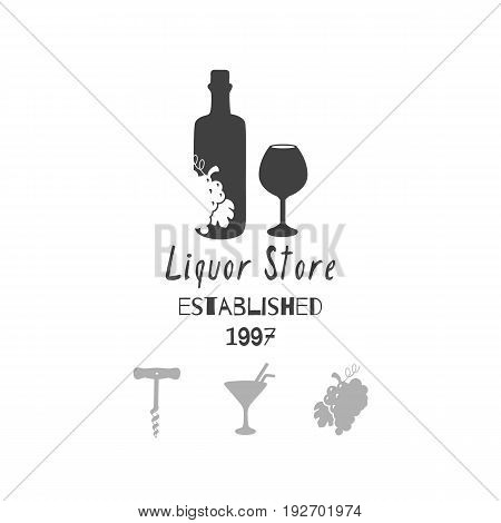Set of hand drawn silhouettes: wine bottle and glass, grape bunch, cocktail and corkscrew. Liquor - alcohol store or bar logo template for craft food packaging or brand identity. Vector illustration