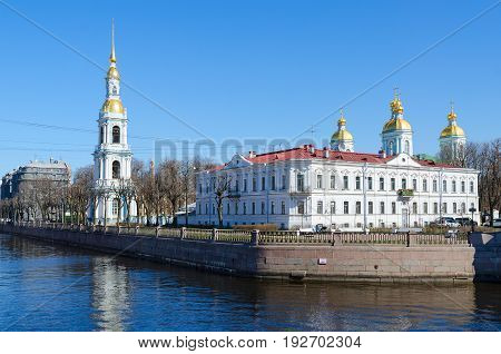 View of Nicholas-Epiphany Naval Cathedral on Kryukov Canal Embankment Saint Petersburg Russia