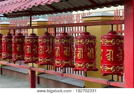 Prayer drums in St. Petersburg Buddhist temple