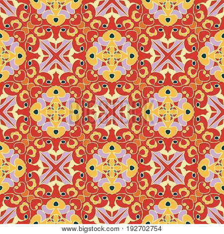 Vector seamless texture. Beautiful colored pattern for design and fashion with decorative elements. Ottoman, Moroccan oriental ornaments