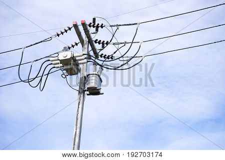 block recloser,electric wire on the pole, power