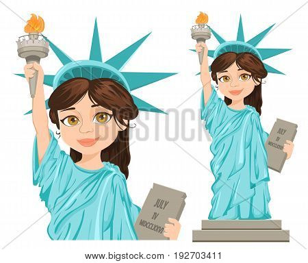 July 4th. Independence Day. Cute cartoon stylized character full height and close-up. Vector patriotic illustration for USA holidays.