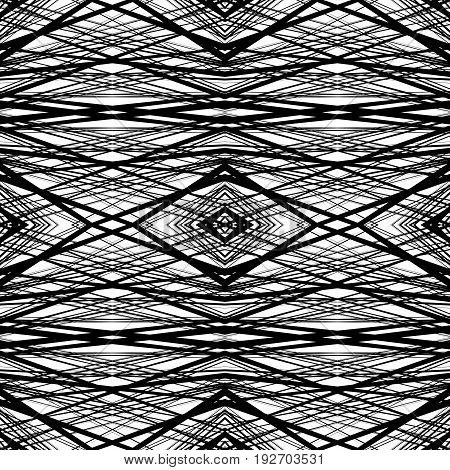 Repeatable, Tileable Background With Random, Irregular Lines. Seamless Pattern Of Mesh, Grid Of Line