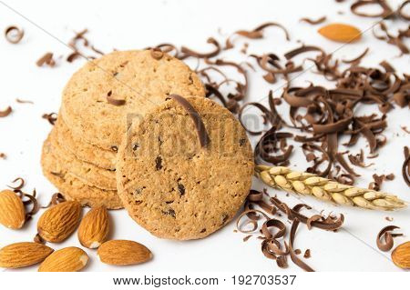 Integral Cookies With Almonds And Chocolate Pieces