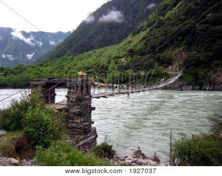 Footbridge With Tibetan Flags, Tibet