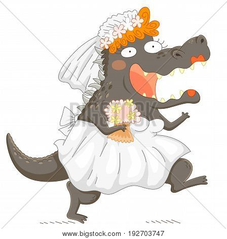 Funny bridezilla - monstrous bride smiling enthusiastically