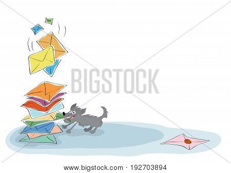 Intelligent dog drags a green envelope from a large stack of incoming messages/ Checking and sending email messages