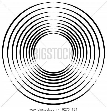 Concentric, Radial Circles Circular Element. Abstract Black And White Design
