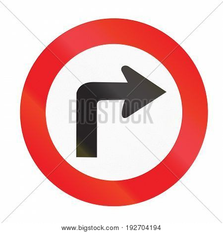 Road Sign Used In Uruguay - Turn Right Ahead