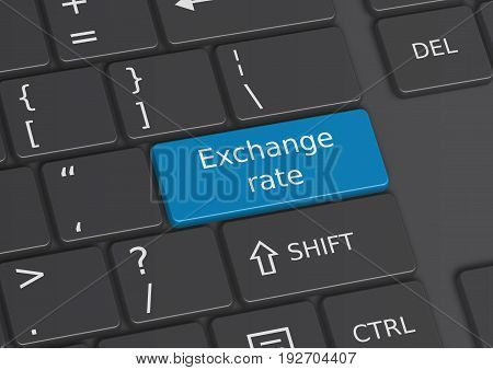 A 3D Illustration Of The Words Exchange Rates Written On The Keyboard