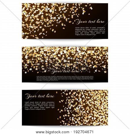 Set of holiday banners with golden confetti stars on a dark background