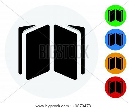 Open Book, Open Booklet Icon. Open Book Symbol On Colored Circles.