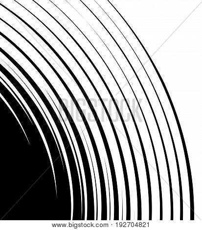 Spiral Spreading From Corner Abstract Element. Concentric, Circular Lines. Swirl, Twirl Shape