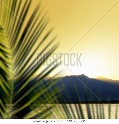 landscape image of high mountains over clear sunset sky in Antalya, Turkey