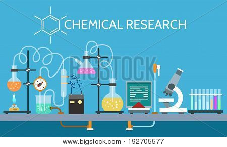 Science chemical laboratory vector illustration. Technician scientist experiment working equipment