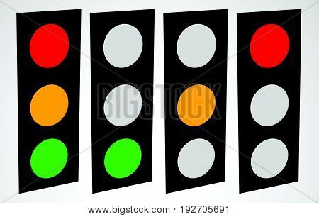Traffic Lamp, Traffic Light, Semaphore Icon Set For Transportation Or Control Concepts