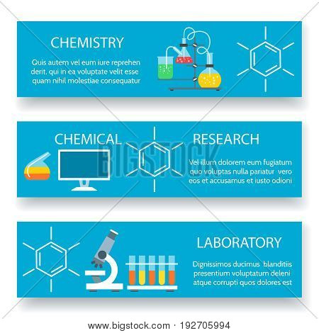Chemistry lab banners. Vector science experiment backgrounds with scientific laboratory equipment