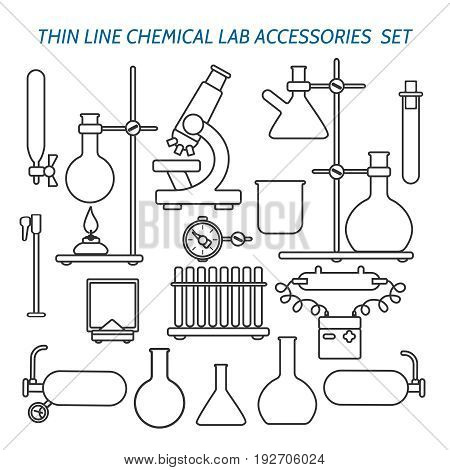 Thin line chemical lab equipment and accessories set. Biology science and medical engineering linear vector icons