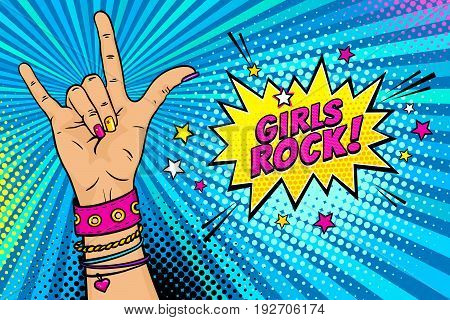 Pop art background with female hand with rock n roll sign and Girls Rock speech bubble with stars. Vector colorful hand drawn illustration in retro comic style.