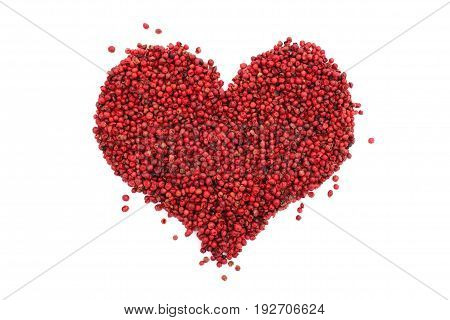 Pink Peppercorns In A Heart Shape