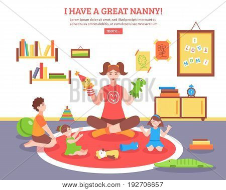 Babysitter concept  with nanny children and toys in the room  flat vector illustration