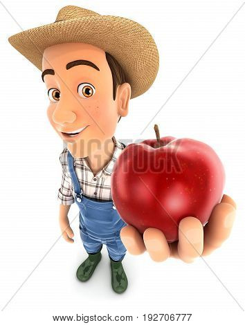 3d farmer holding red apple illustration with isolated white background