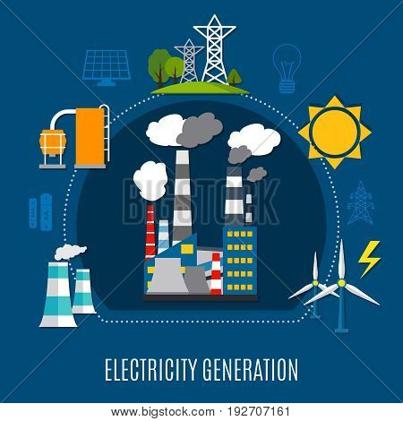 Electricity generation composition with fuel power plant, electrical pylons, solar panels on blue background flat vector illustration