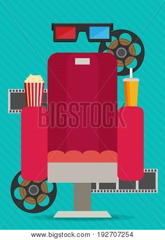 Concept design on movie watching with cola popcorn film.