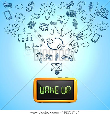 Business morning composition with 3d clock hand drawn icons of work processes on blue background vector illustration