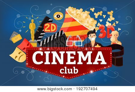 Cinema movie background composition with doodle style images of tickets popcorn 3d glasses and sign board vector illustration