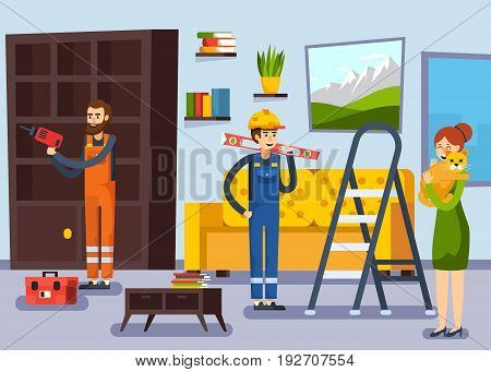 Home renovation remodeling flat poster with carpenter and repairman workers characters and woman with cat vector illustration