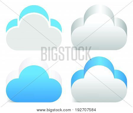3D Cloud Element In 4 Color Version