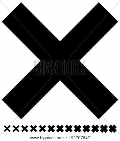 Cross Symbol With Different Weights Included. Delete, Removal, Cancellation, Remove Icon