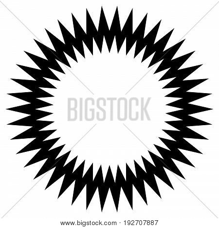Zig-zag Edgy Circle Element. Abstract Monochrome Circle.