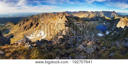 Beutiful Tatras nature summer landcape with mountain and lake
