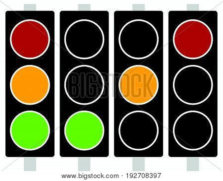 Traffic Light, Traffic Lamp Icon In Set. Semaphore With Green, Yellow, Red Light On. Suitable As Dri