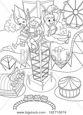 Tower ride, tallest amusement attraction. Thrill from a free fall from this tower. Childrens coloring book about an amusement park, cartoon black lines on a white background