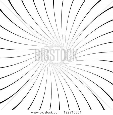 Abstract Pattern With Radial Lines. Radial, Radiating Lines With Distortion Effect. Circular Geometr