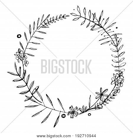 Hand drawn wreath of doodle flowers. Grafic summer floral elements