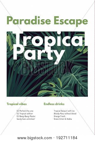 Dark tropical summer party flyer design with green jungle palm leaves. Vector illustration.