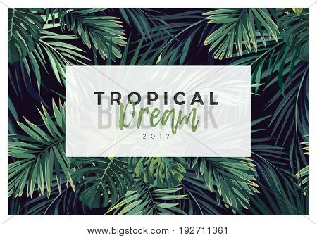 Dark tropical typography design with green jungle palm leaves. Vector illustration.