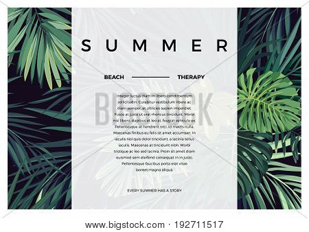 Dark tropical typography design with green jungle palm leaves. Space for text. Vector illustration.