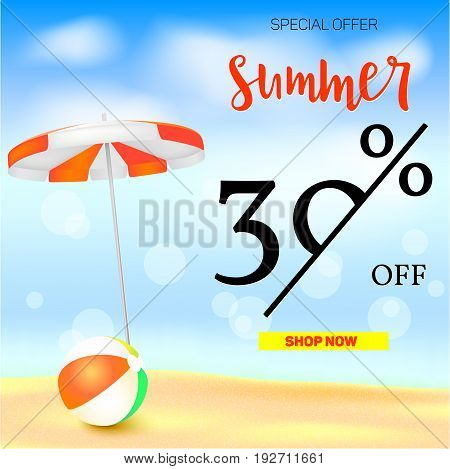Selling ad banner, vintage text design. Thirty percent summer vacation discounts, The sandy beach background with sun umbrella and bouncy ball. Template for online shopping, advertising actions.